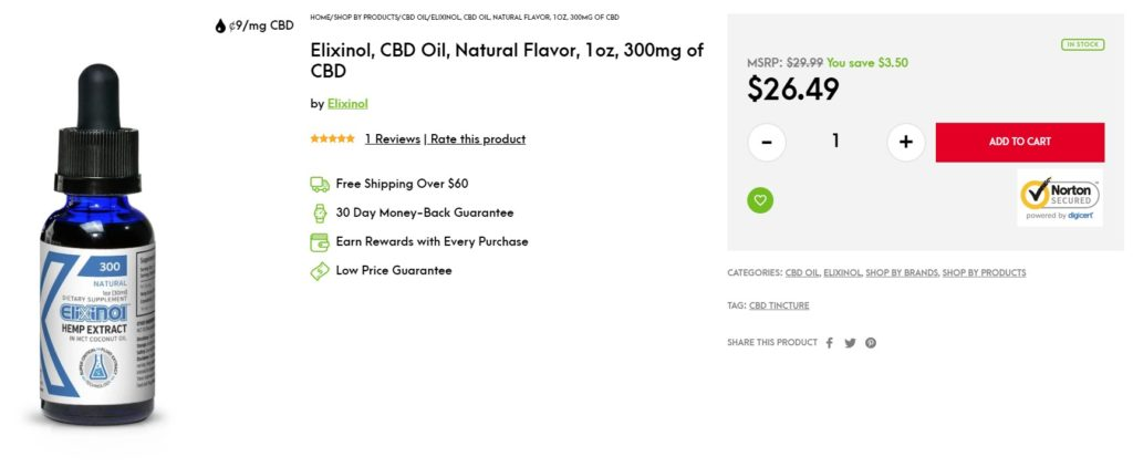 Elixinol, CBD Oil, Natural Flavor, 1oz, 300mg of CBD - Screenshot