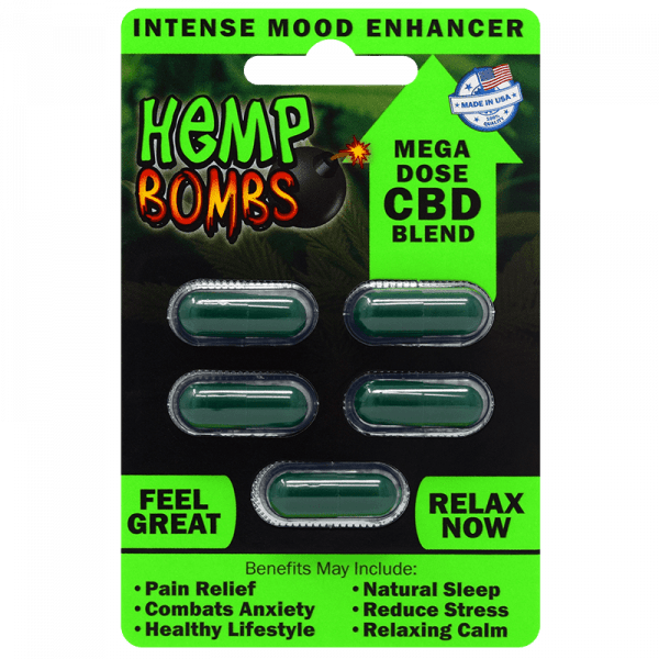 Hemp Bombs, CBD Capsules, Mega Dose CBD Blend, 5 Count, 75mg of CBD