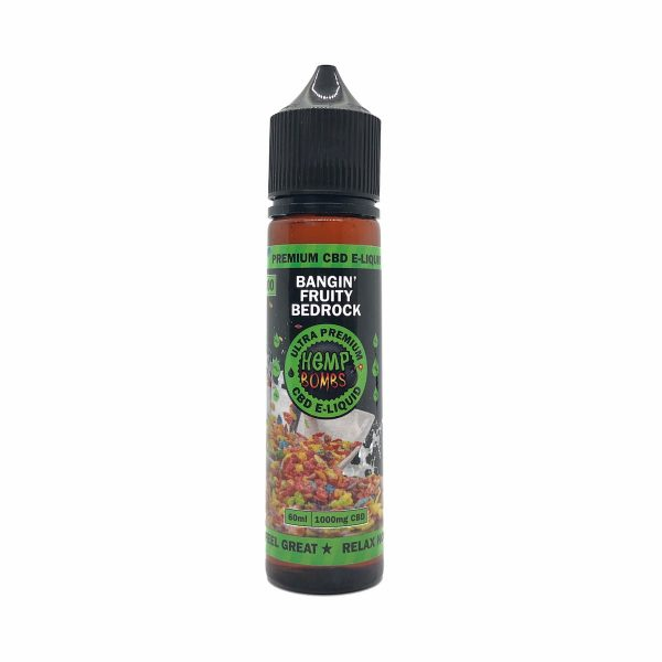 Hemp Bombs, CBD E-Liquid, Broad Spectrum THC-free, Bangin' Fruity Bedrock, 60ml, 1000mg of CBD