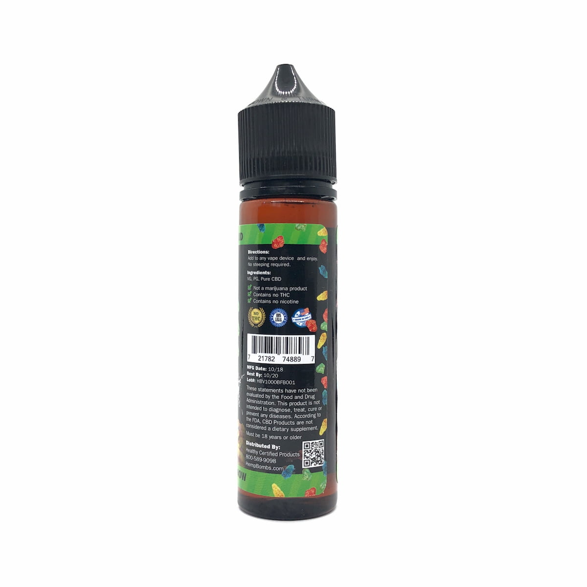 Hemp Bombs, CBD E-Liquid, Broad Spectrum THC-free, Bangin' Fruity Bedrock, 60ml, 1000mg of CBD2