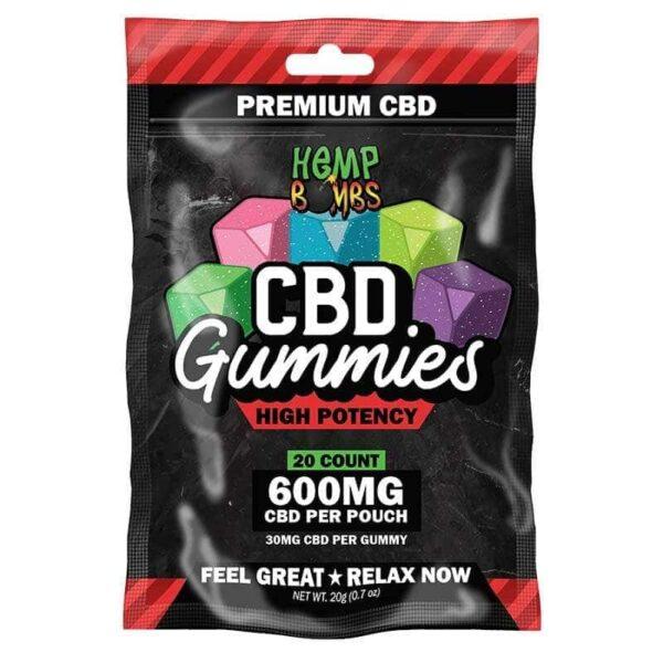 Hemp Bombs, CBD Gummies, High Potency Max Strength, 20 Count, 600mg of CBD
