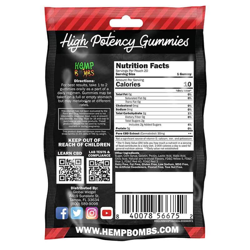 Hemp Bombs, CBD Gummies, High Potency Max Strength, 20 Count, 600mg of CBD2