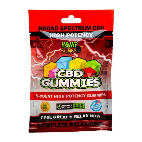Hemp Bombs, CBD Gummies, High Potency, 5-Count, 125mg of CBD