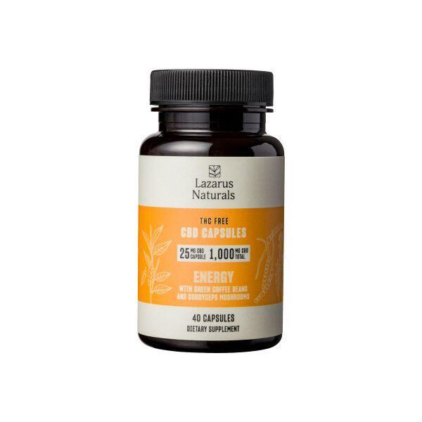 Lazarus Naturals, 25mg CBD Isolate Capsules Energy Blend, 40 capsules, 1000mg CBD 1