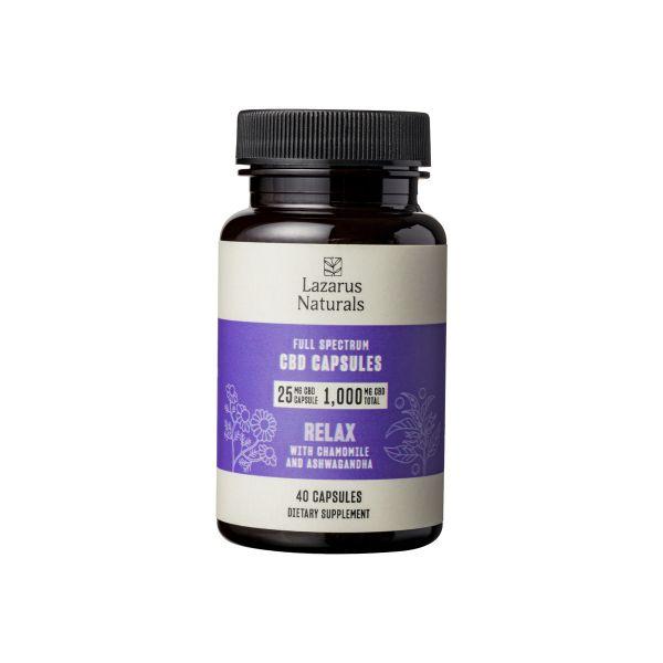Lazarus Naturals, 25mg CBD Full Spectrum Capsules Relaxation Blend, 40 capsules, 1000mg CBD