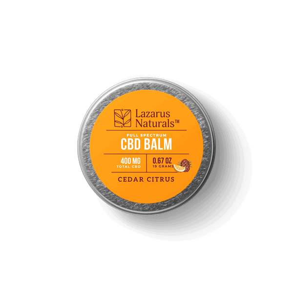 Lazarus Naturals, Cedar Citrus Full Spectrum CBD Balm, 0.67oz, 400mg of CBD