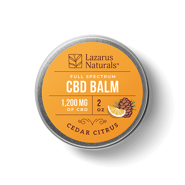 Lazarus Naturals, Cedar Citrus Full Spectrum CBD Balm, 2oz, 1200mg of CBD