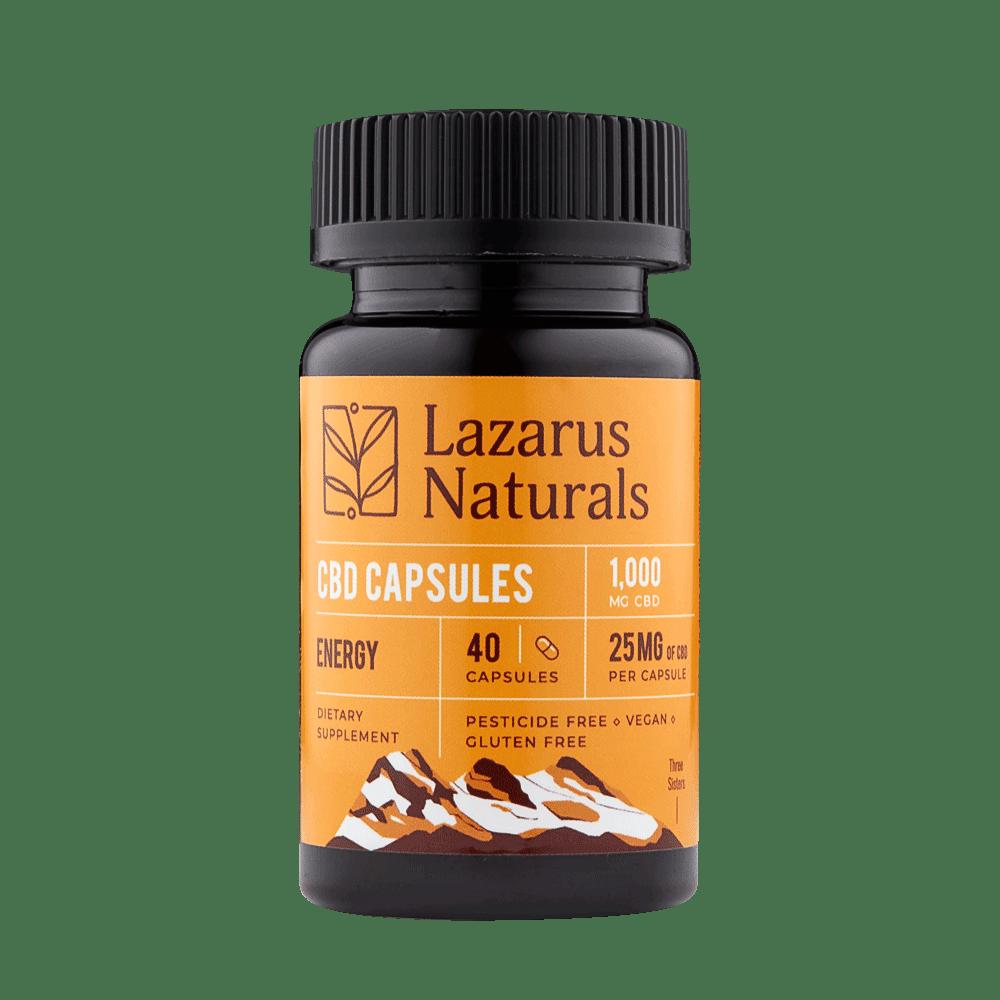 Lazarus Naturals, CBD Capsules, Isolate Energy Formula, 40 capsules, 1000mg of CBD
