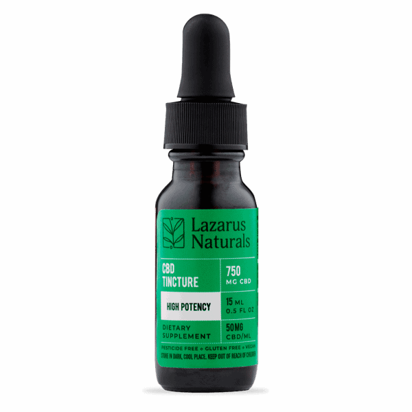 Lazarus Naturals, CBD Oil, High Potency, Natural Flavor, 0.5oz (15ml), 750mg of CBD