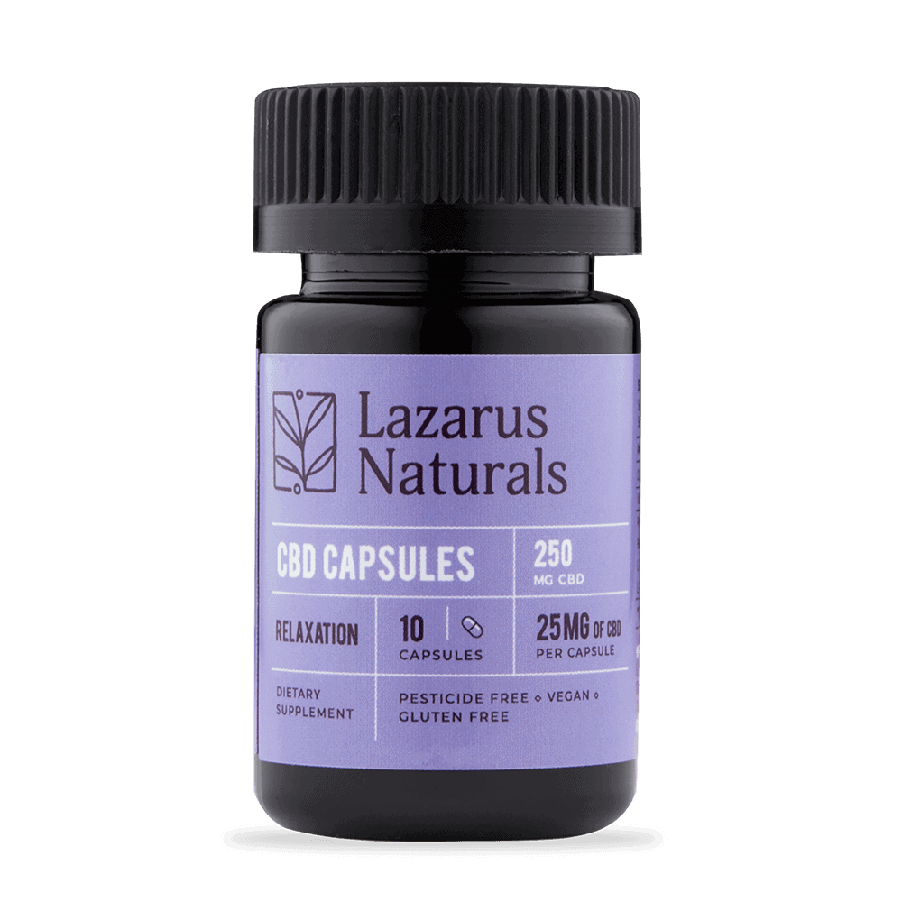 Lazarus Naturals, CBD Capsules, Isolate Relaxation Formula, 10 capsules, 250mg of CBD