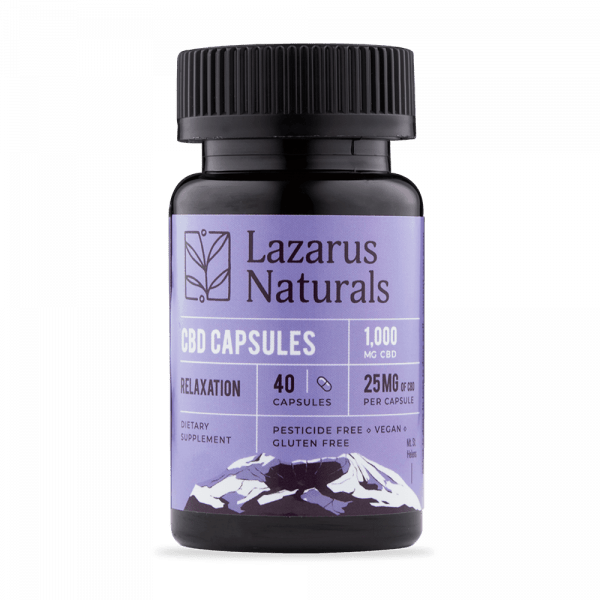 Lazarus Naturals, CBD Capsules, Isolate Relaxation Formula, 40 capsules, 1000mg of CBD