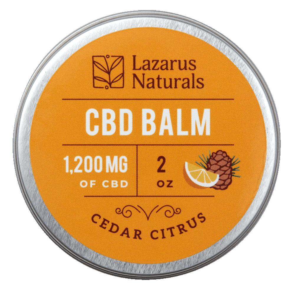 Lazarus Naturals, Cedar Citrus CBD Balm, 2oz, 1200mg of CBD