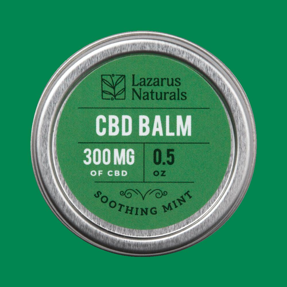 Lazarus Naturals, Soothing Mint CBD Balm, 0.5oz, 300mg of CBD