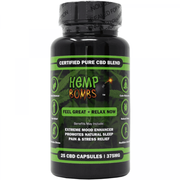 Hemp Bombs, CBD Capsules, 25 Capsules, 375mg of CBD