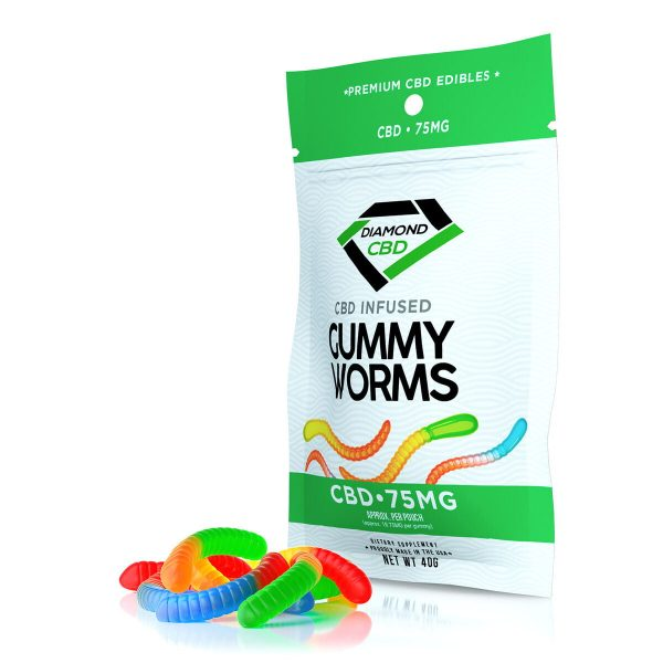 Diamond CBD, Infused Gummy Worms, 4-count, 0.75oz, 75mg of CBD