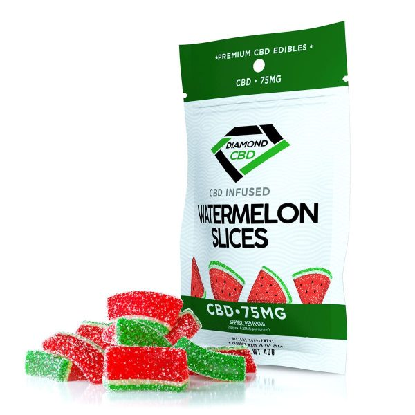 Diamond CBD, Infused Watermelon Slices, 12-count, 0.75oz, 75mg of CBD