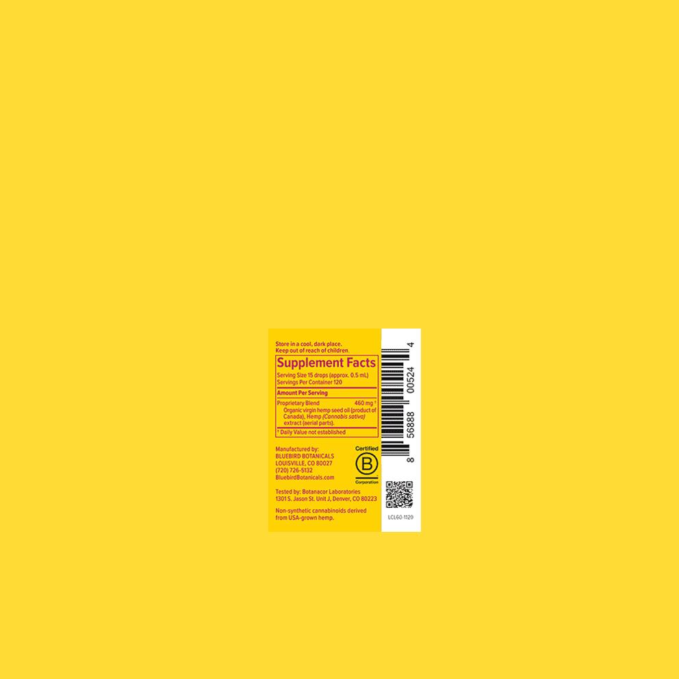 Bluebird Botanicals, Hemp CBD Extract Classic, Full Spectrum, Natural Flavor, 2oz, 500mg CBD 3