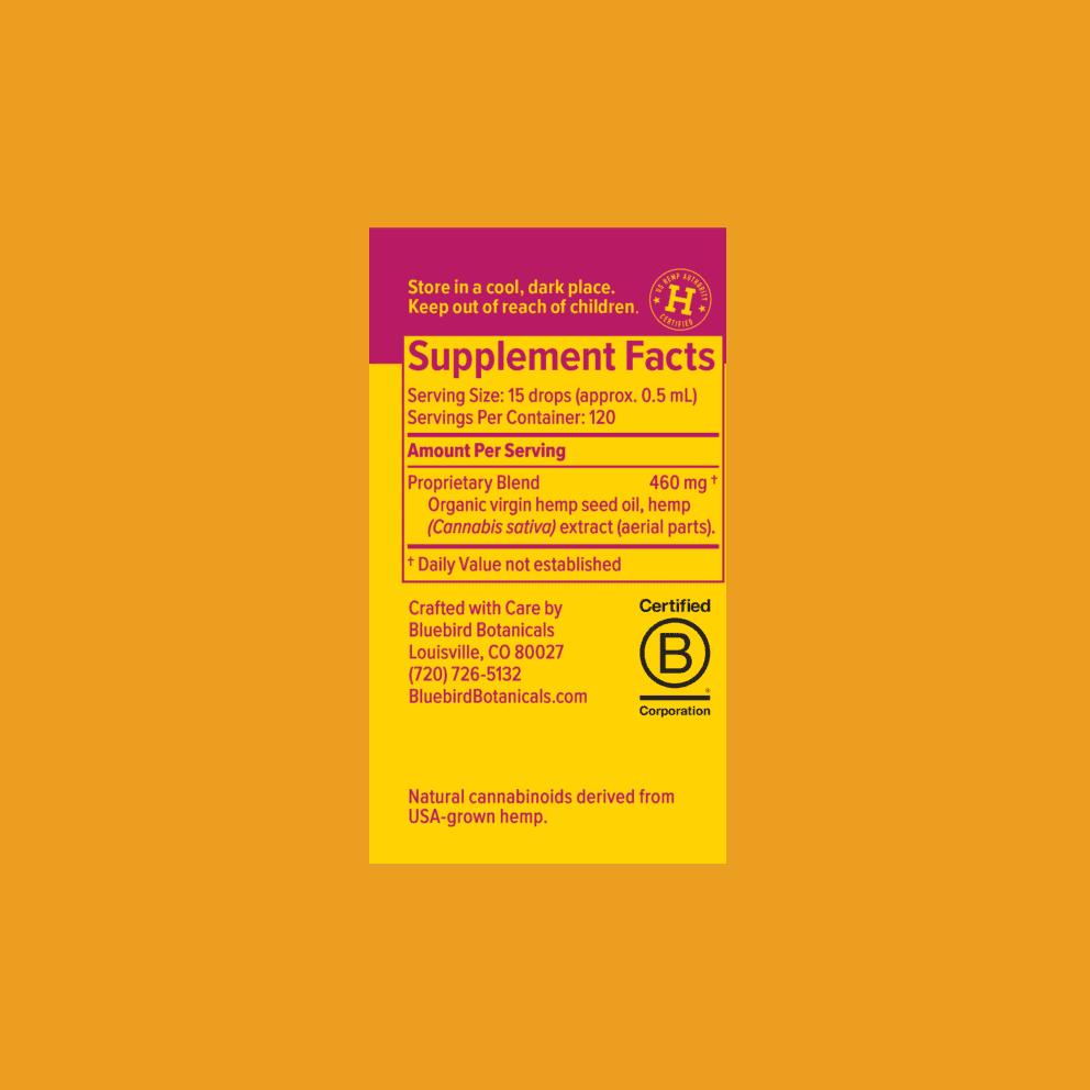 Bluebird Botanicals, Hemp CBD Extract Classic, Full Spectrum, Natural Flavor, 2oz, 500mg CBD 4