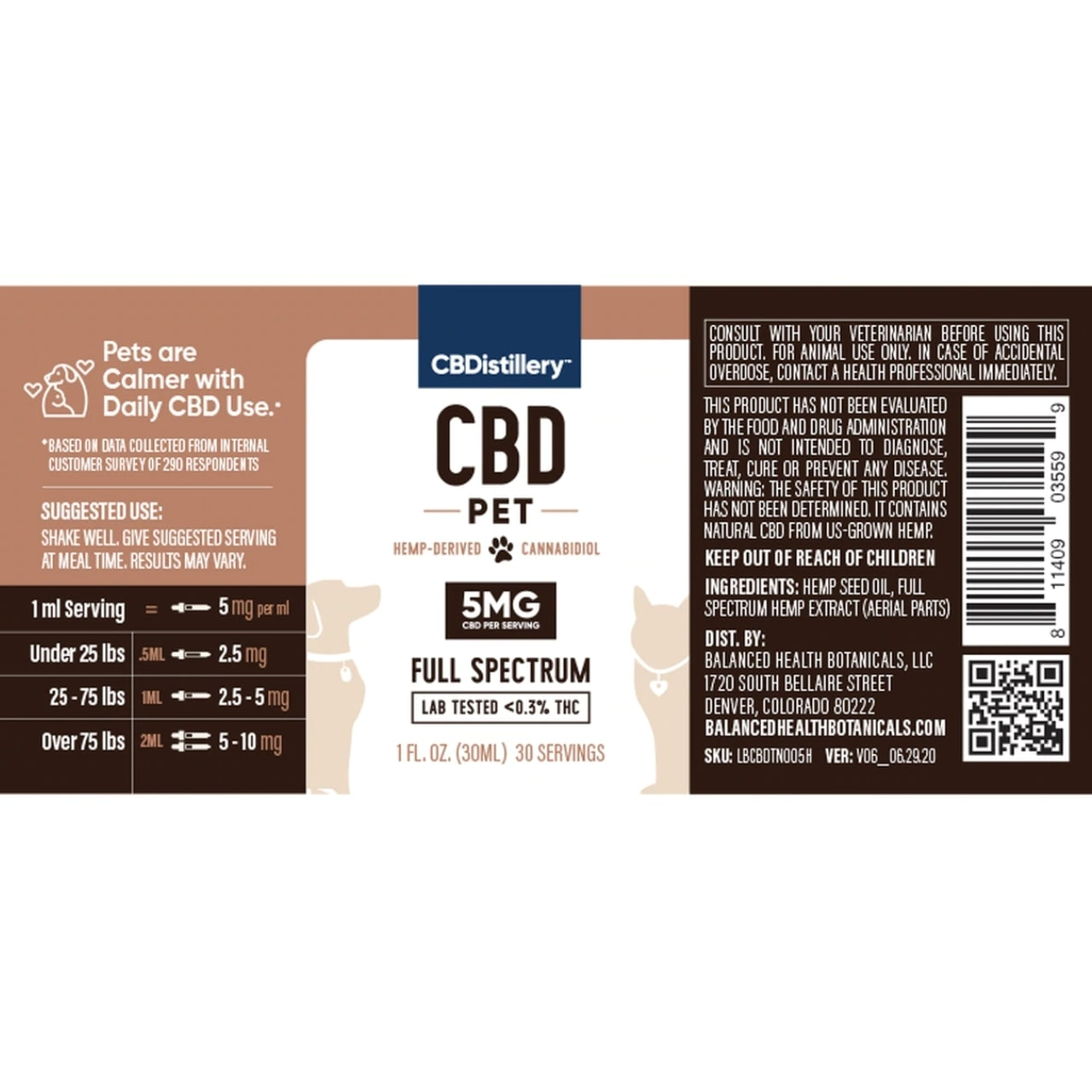 CBDistillery, CBD Pet Tincture, Full Spectrum, 1oz, 150mg of CBD2