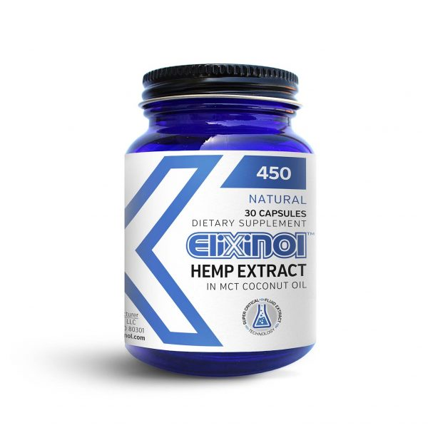 Elixinol, CBD Hemp Oil Capsules, 30 Capsules, 450mg of CBD