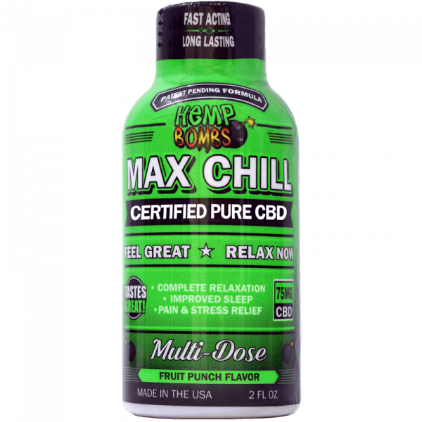 Hemp Bombs, CBD Max Chill Shot, 2oz, 75mg of CBD