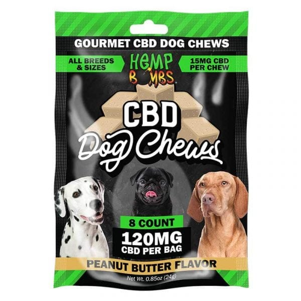Hemp Bombs, CBD Dog Chews, Broad Spectrum THC-free, 8-Count, 120mg of CBD