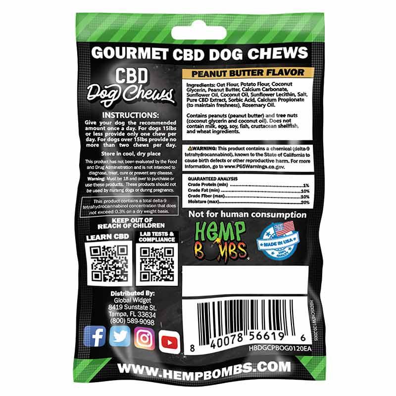 Hemp Bombs, CBD Dog Chews, Broad Spectrum THC-free, 8-Count, 120mg of CBD2