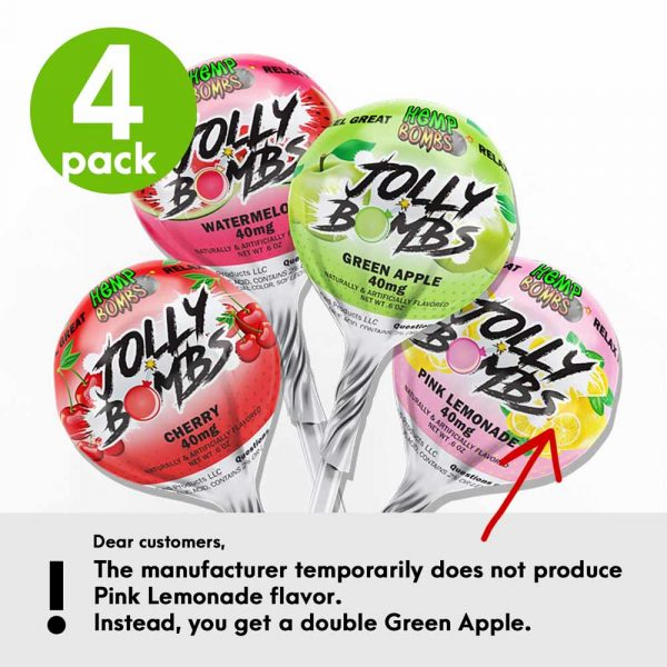 Hemp Bombs, CBD Lollipops, Jolly Bombs, Full Spectrum, 4 Count, 40mg of CBD per Lollipop