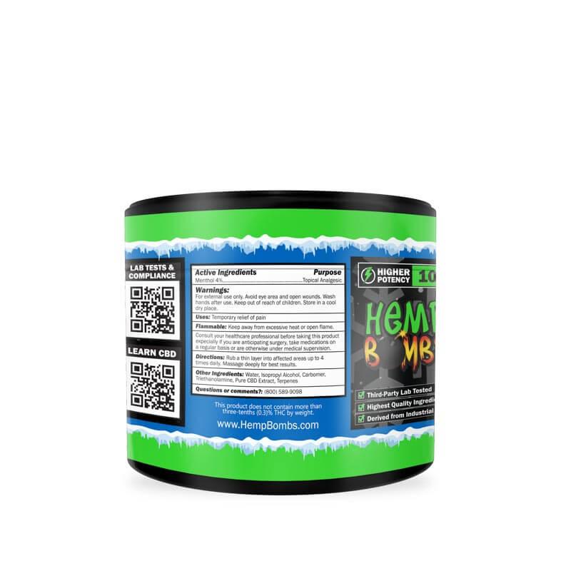 Hemp Bombs, CBD Pain Rub, Broad Spectrum THC-free, 1oz, 100mg of CBD-left