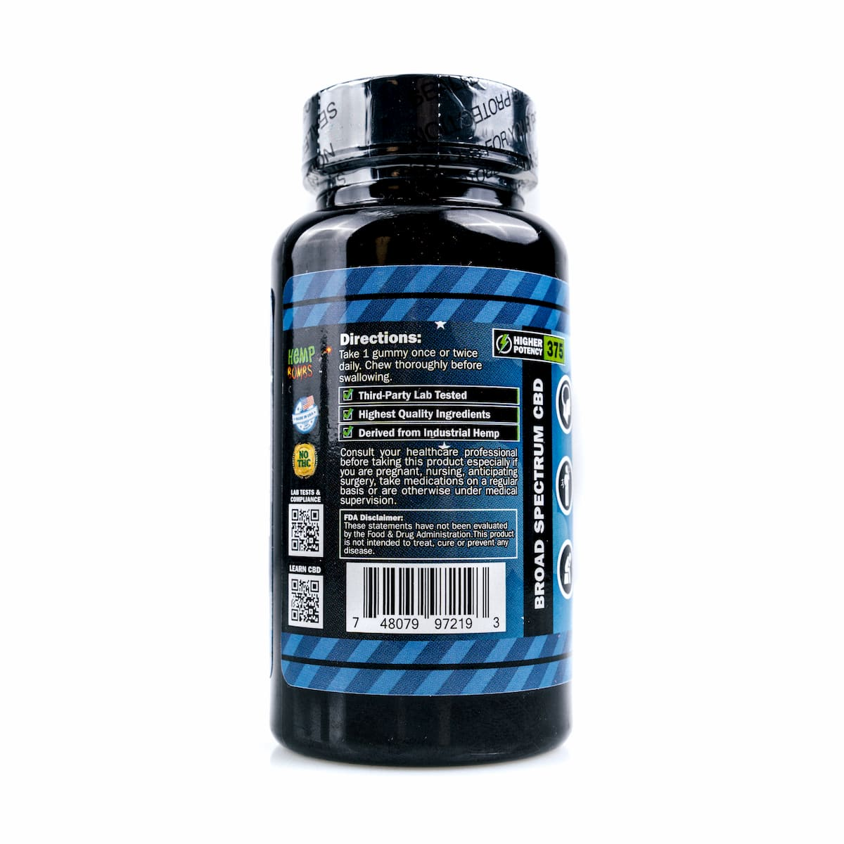 Hemp Bombs, CBD Sleep Gummies with Melatonin, Broad Spectrum THC-free, 25 Count, 375mg of CBD2