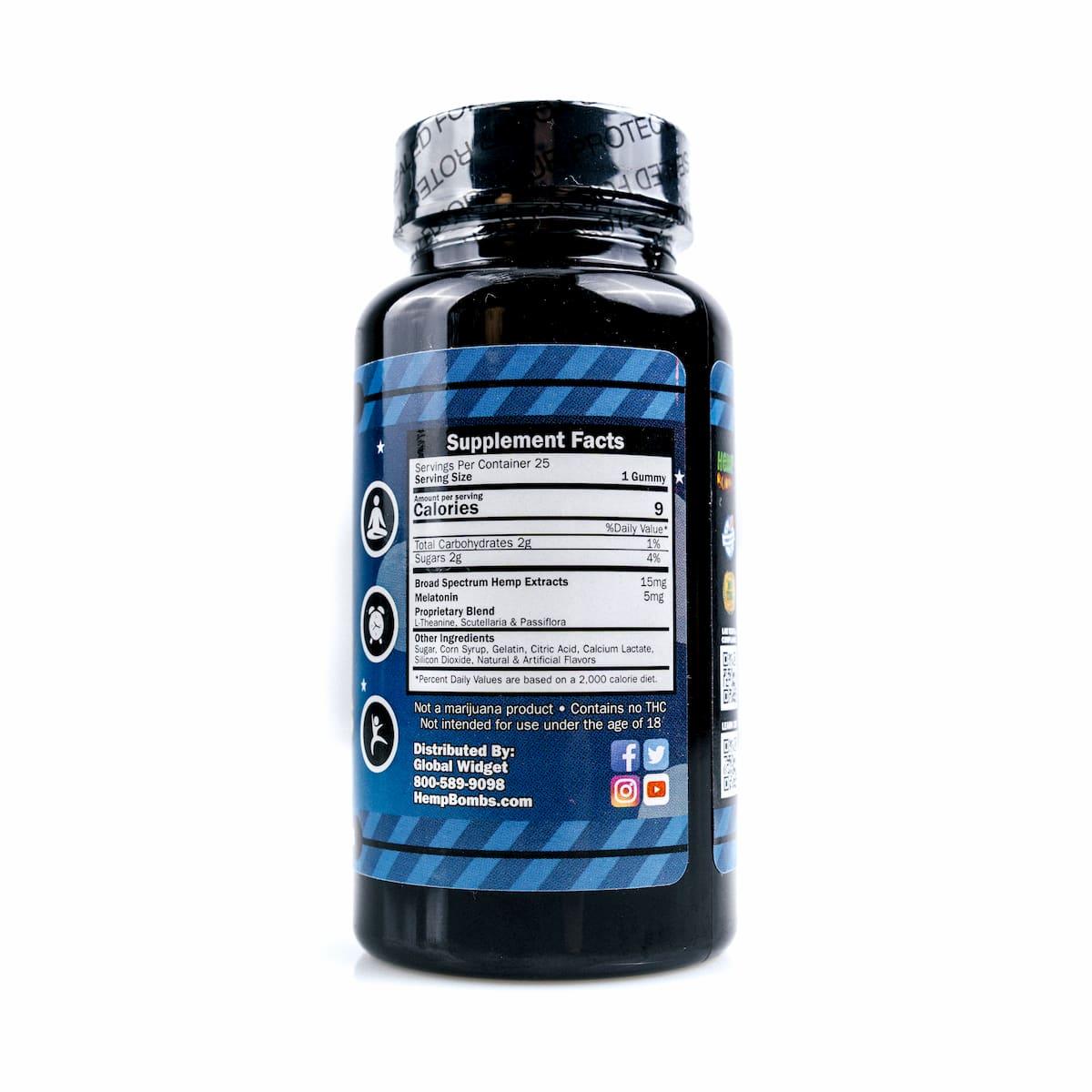 Hemp Bombs, CBD Sleep Gummies with Melatonin, Broad Spectrum THC-free, 25 Count, 375mg of CBD3