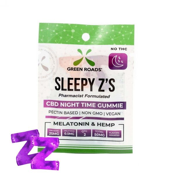 Green Roads, Sleepy Z's, CBD Gummies with Melatonin, 2 count, 50mg of CBD