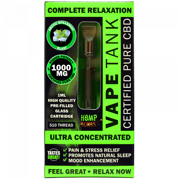 Hemp Bombs, Vape Tank, Spearmint, 1ml, 1000mg of CBD