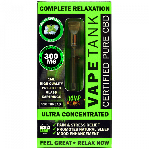 Hemp Bombs, Vape Tank, Spearmint, 1ml, 300mg of CBD