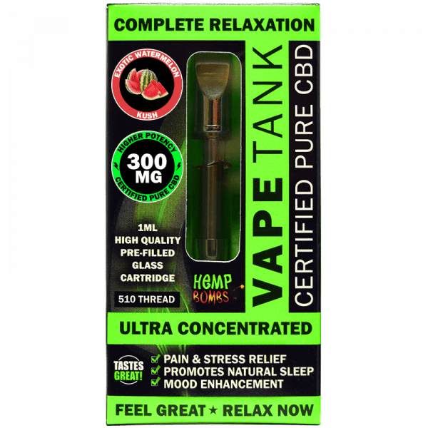 Hemp Bombs, Vape Tank, Watermelon, 1ml, 300mg of CBD
