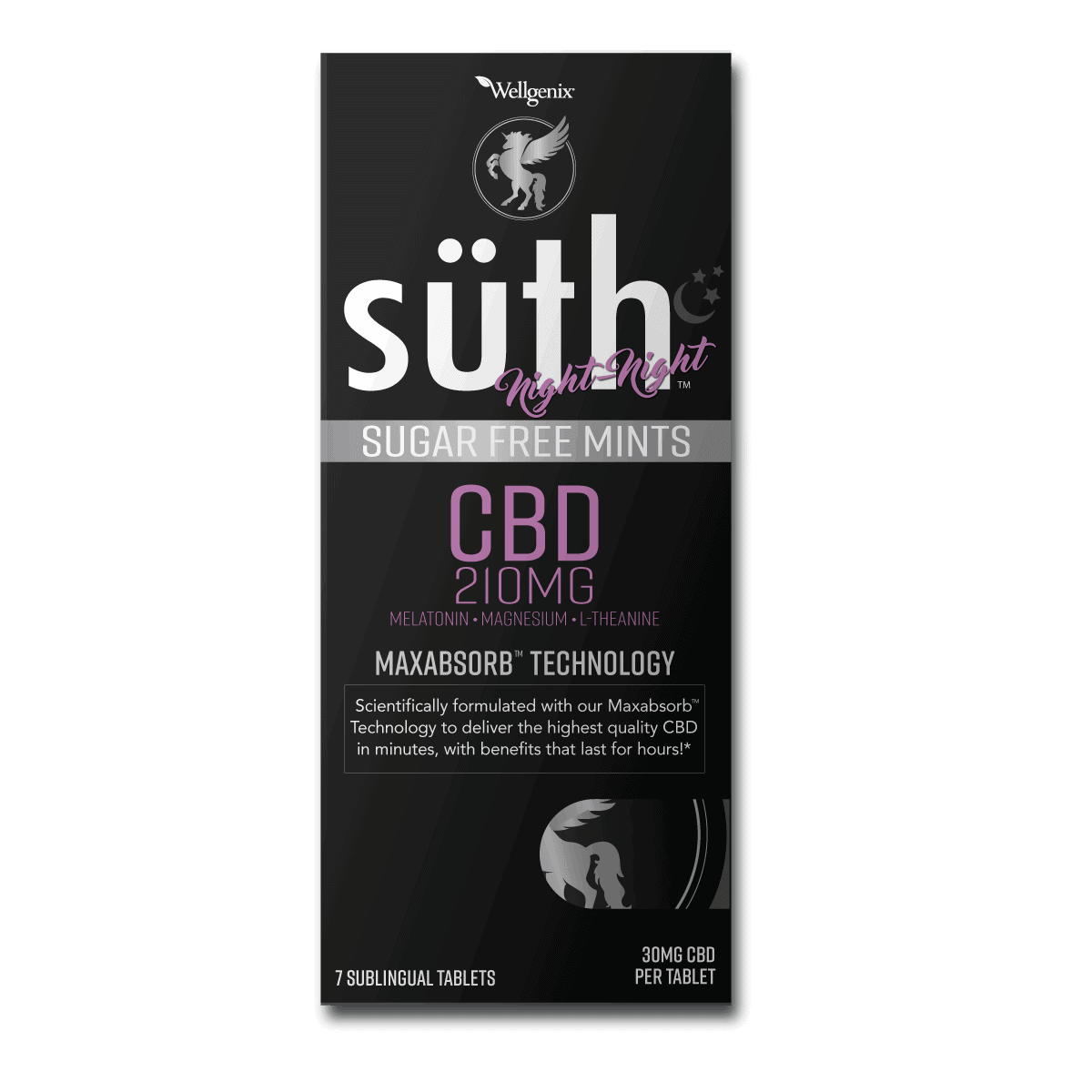 Süth, CBD Sublingual Tablets with Melatonin, Mint, 7 Count, 210mg of CBD