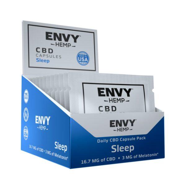 Envy Hemp, CBD Capsules for Sleeping with Melatonin, 30 Count, 16.7mg of CBD