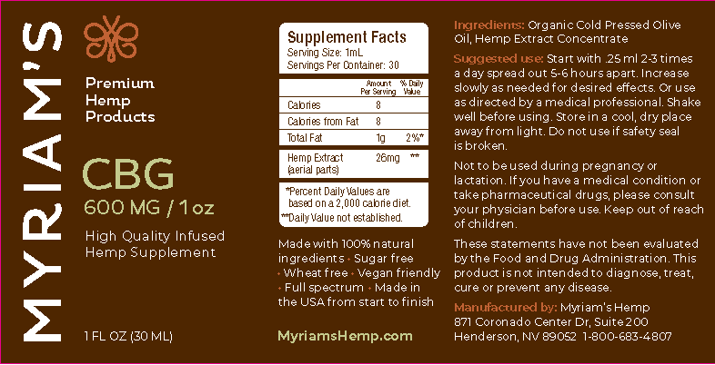 Myriam's Hope, CBG Oil, 1oz, 600mg of CBG Daily-50