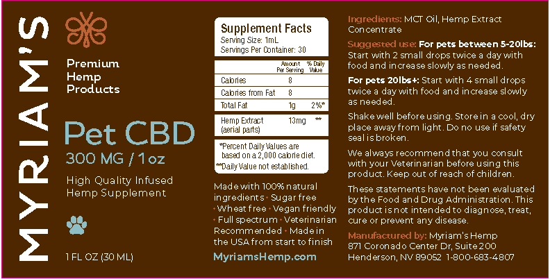 Myriam's Hope cbd oil daily pet