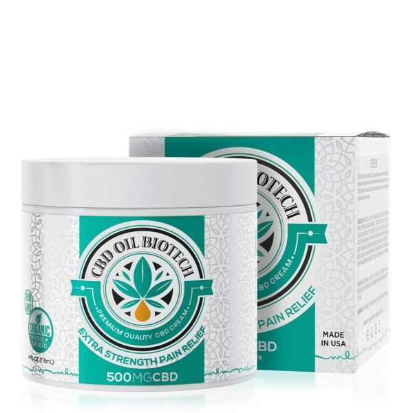 CBD Oil Biotech, CBD Cream, 4oz, 500mg of CBD