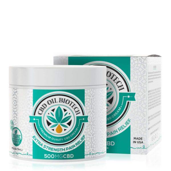 CBD Oil Biotech, CBD Cream, 4oz, 500mg of CBD