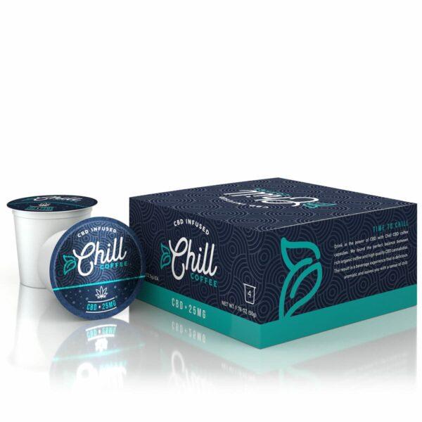 Chill, CBD Coffee Capsules, 4 Pack, 25mg of CBD