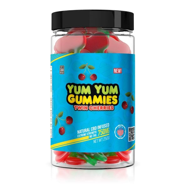 Yum Yum Gummies, CBD Gummies, Twin Cherries, 250g, 750mg of CBD