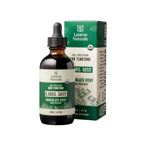 Lazarus Naturals, Chocolate Mint Flavored High Potency Full Spectrum CBD Tincture Oil, 4oz, 6000mg CBD 1