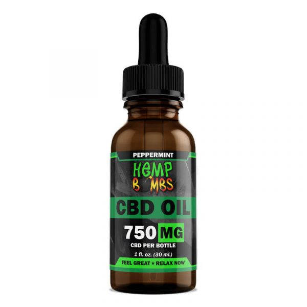 Hemp Bombs, CBD Oil, Broad Spectrum THC-free, Peppermint, 1oz, 750mg of CBD