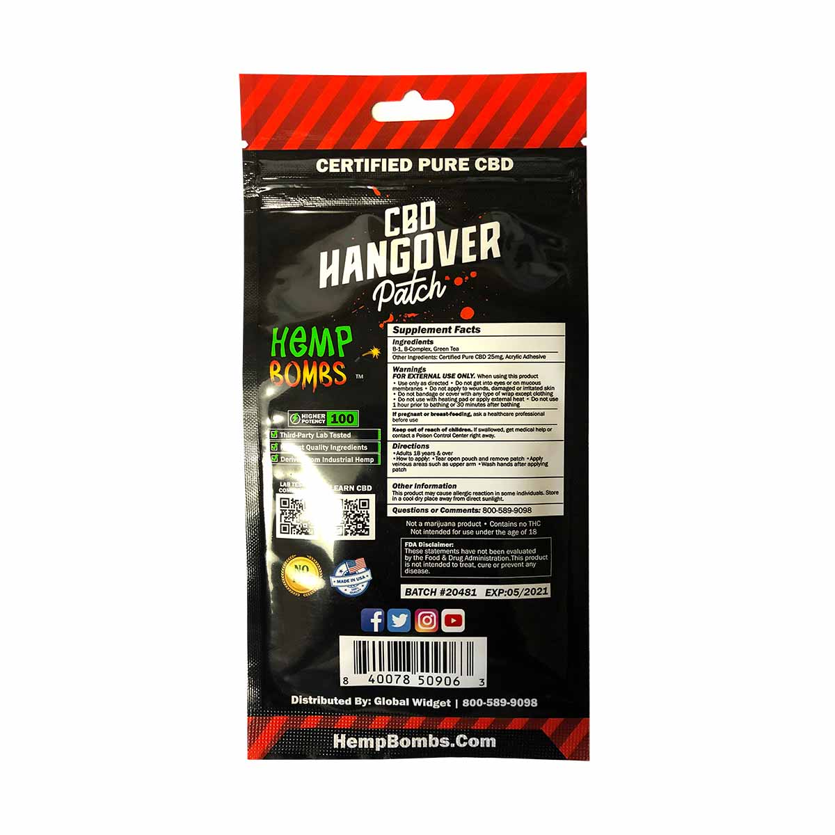 HempBombs, CBD Hangover Patches, 4 count, 100mg of CBD