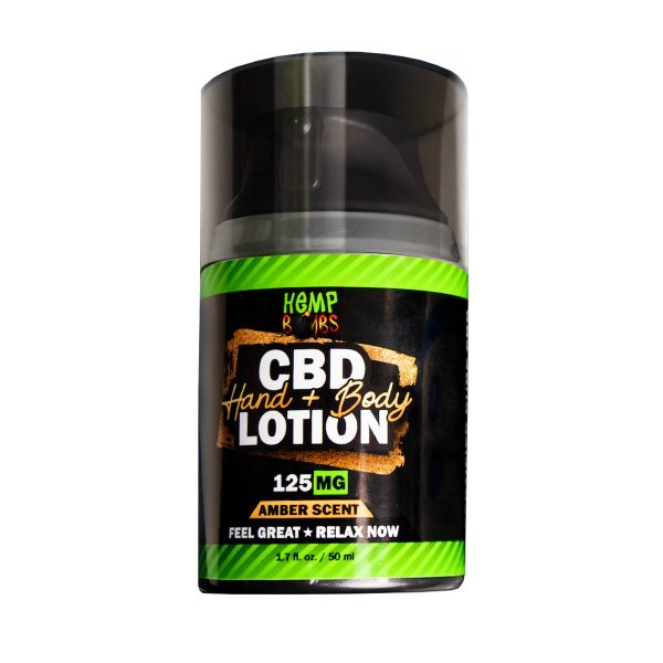 Hemp Bombs, CBD Hand and Body Lotion, Amber Scent, 1.7oz, 125mg of CBD
