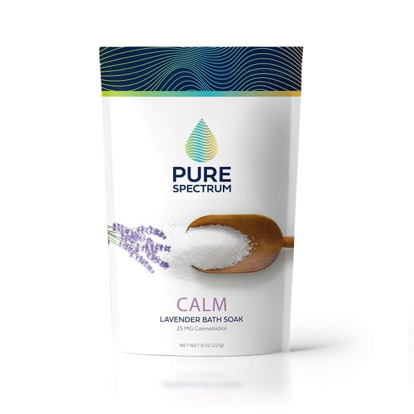 Pure Spectrum, Calm Lavender Bath Soak, 8oz, 25mg of CBD