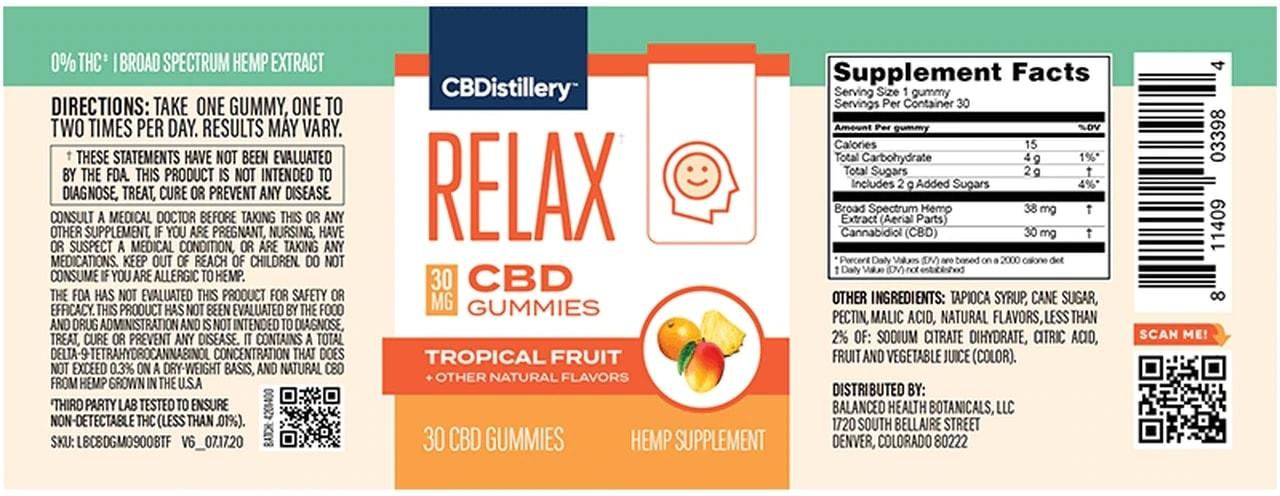 CBDistillery, 30mg Broad Spectrum CBD Anytime Gummies, Tropical Fruit, 30 Count, 900mg of CBD2