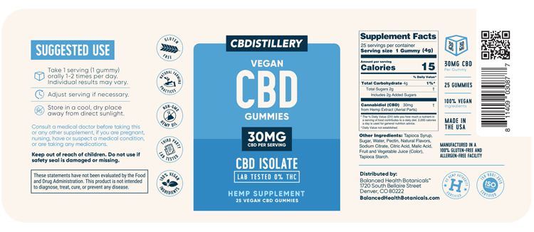 CBDistillery, CBD Gummies, Isolate, 25 count, 750mg of CBD-FLAT